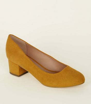 Extra Wide Fit Mustard Suedette Low Block Heel Courts