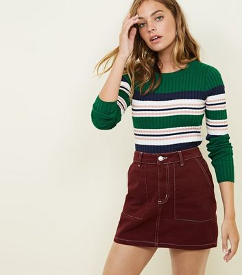 Petite Rust Contrast Stitch Denim Mini Skirt