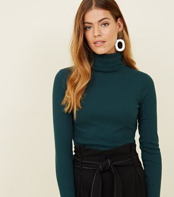 Petite Dark Green Roll Neck Long Sleeve Top