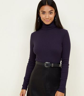 Petite Navy Roll Neck Long Sleeve Top