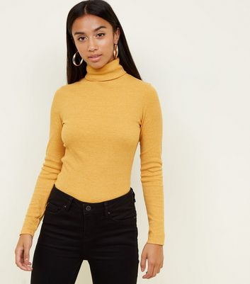 Petite Mustard Rib Roll Neck Top by New Look