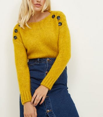 Mustard Button Shoulder Jumper