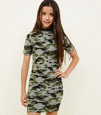 Girls Green Camo Bodycon Dress