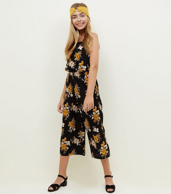 c94e2c9e4e54 Girls Black Floral Crepe Square Neck Jumpsuit | New Look