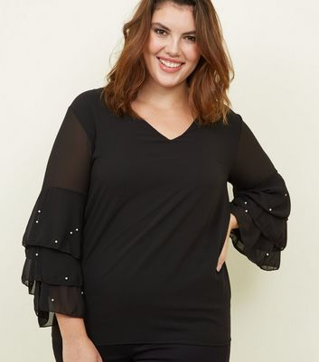 Mela Curves Black Tiered Faux Pearl Sleeve Blouse