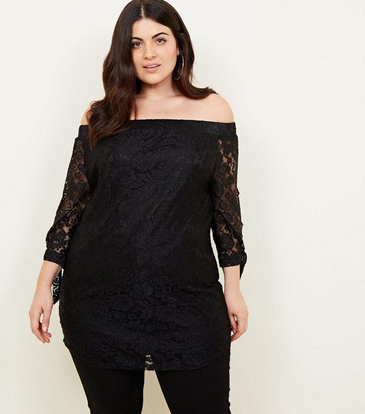 285ea7e8941a3 Mela Curves Black Lace Bardot Top