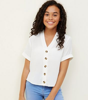 Girls White Button Front Boxy Shirt