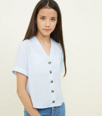Girls Pale Blue Button Front Boxy Shirt