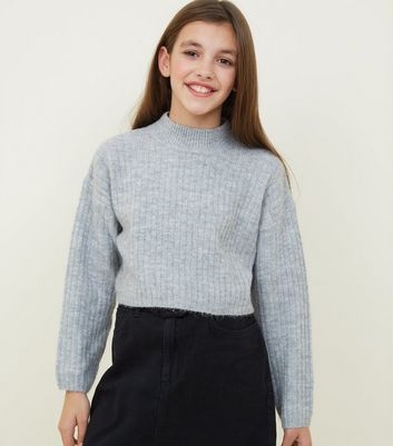 Girls Grey Soft Brushed Knitted Jumper