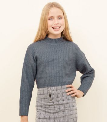 Girls Pale Blue Soft Brushed Knitted Jumper