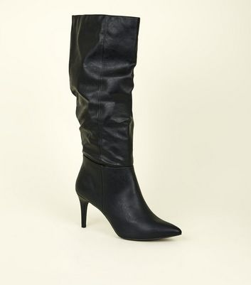 Black Leather-Look Knee High Stiletto Slouch Boots