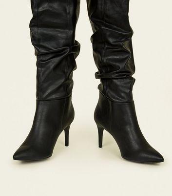 Black Leather-Look Knee High Stiletto