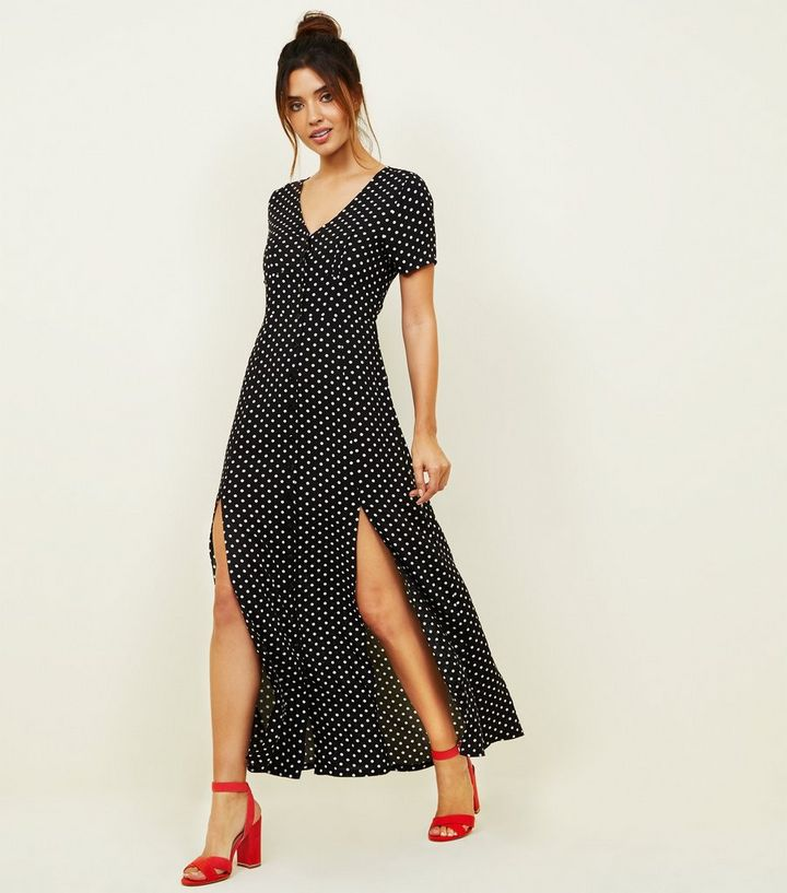 8d3d4bb8 Black Polka Dot Button Through Maxi Dress | New Look