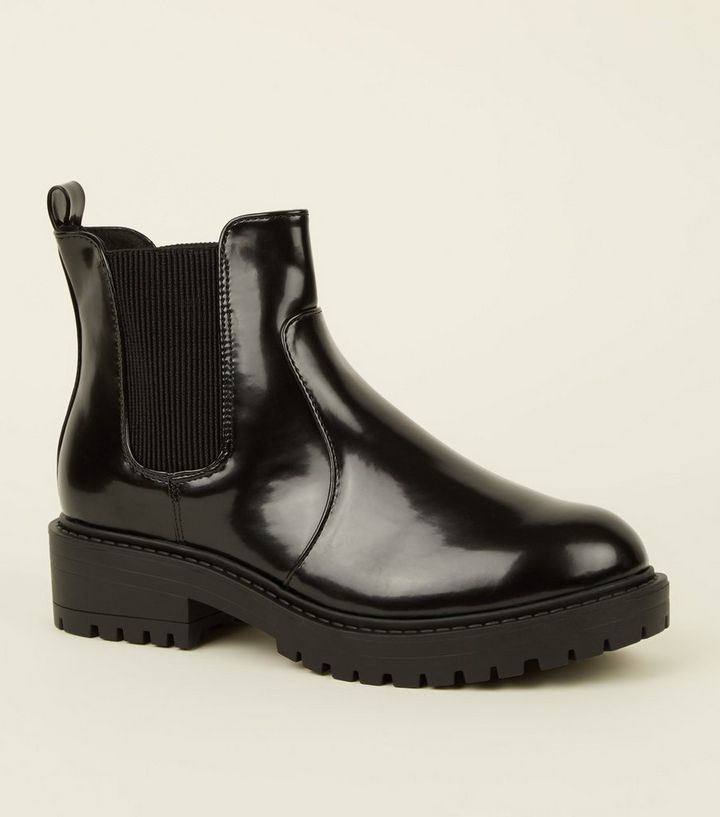 d6465b2db41 Black Chunky Cleated Sole Chelsea Boots