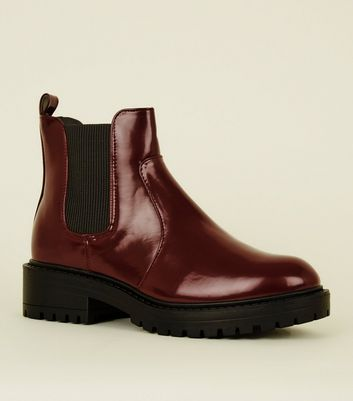 Dark Red Chunky Cleated Sole Chelsea Boots