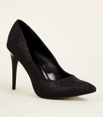 Black Glitter Stiletto Heel Pointed Courts