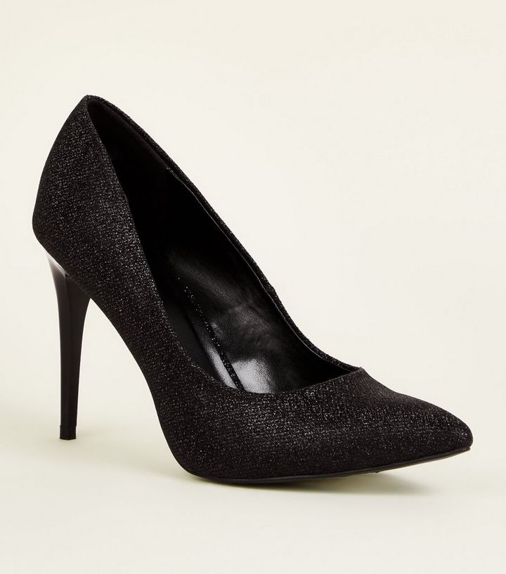06fd54de6ad2 Black Glitter Stiletto Heel Pointed Courts