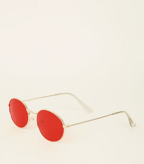 4fb5ab94602 Red Tinted Oval Sunglasses · Red Tinted Oval Sunglasses ...