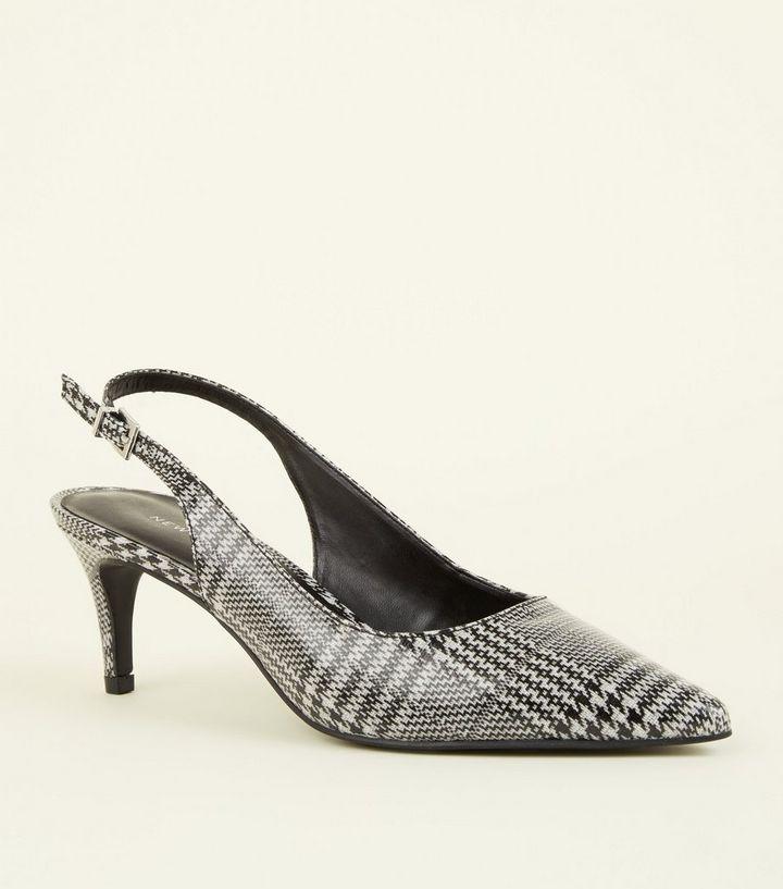 27c06b5bd9f Black Check Slingback Kitten Heels