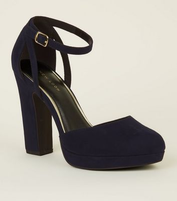 Navy Suedette Two Part Platform Courts