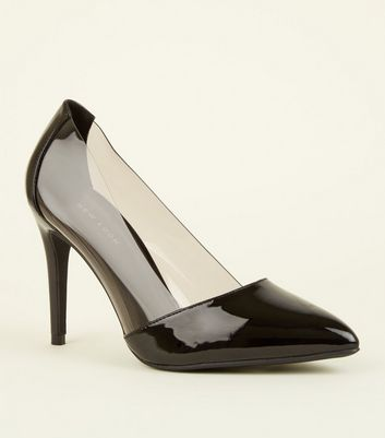 Black Clear Trim Pointed Court Shoes by New Look