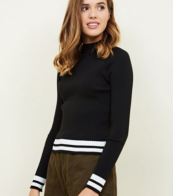 Black Ribbed High Neck Stripe Hem Top