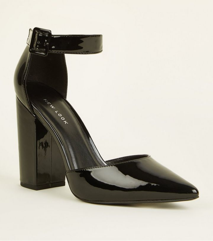 b7a140772f0 Black Patent Buckle Ankle Strap Block Heels Add to Saved Items Remove from  Saved Items