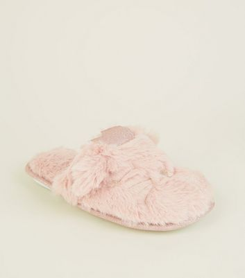 Girls Pink Faux Fur Cat Crown Slippers