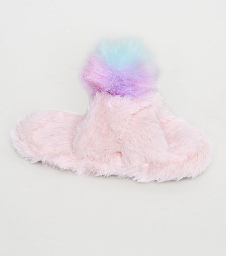 995104234a3 Girls Pink Fluffy Pom Pom Mule Slippers