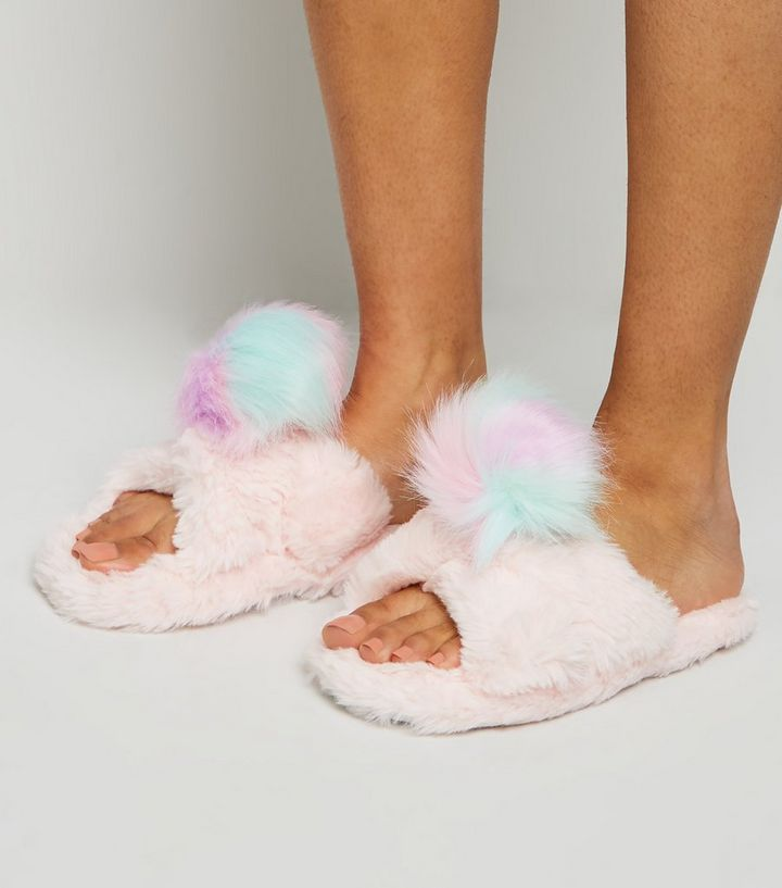 0125fe59455 ... Shoes · Girls Pink Fluffy Pom Pom Mule Slippers. ×. ×. ×. Shop the look