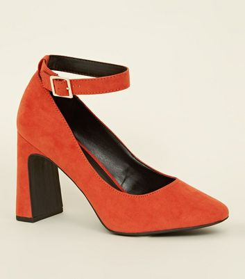 Orange Suedette Flared Heel Court Shoes