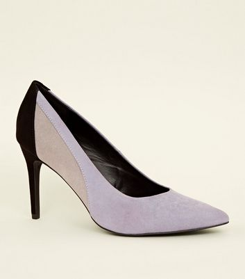 Purple Contrast Suedette Pointed Court Heels