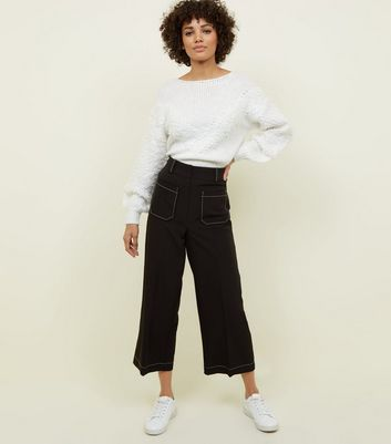 Black Contrast Stitch Wide LegTrousers