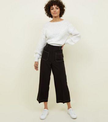 Pantalon Large Noir à Surpiqûres Contrastantes by New Look
