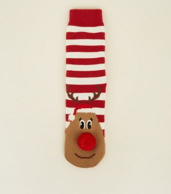 Red Stripe Pom Pom Reindeer Slipper Socks