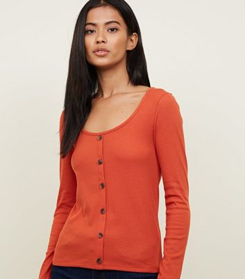 Orange Ribbed Button Front Long Sleeve Top