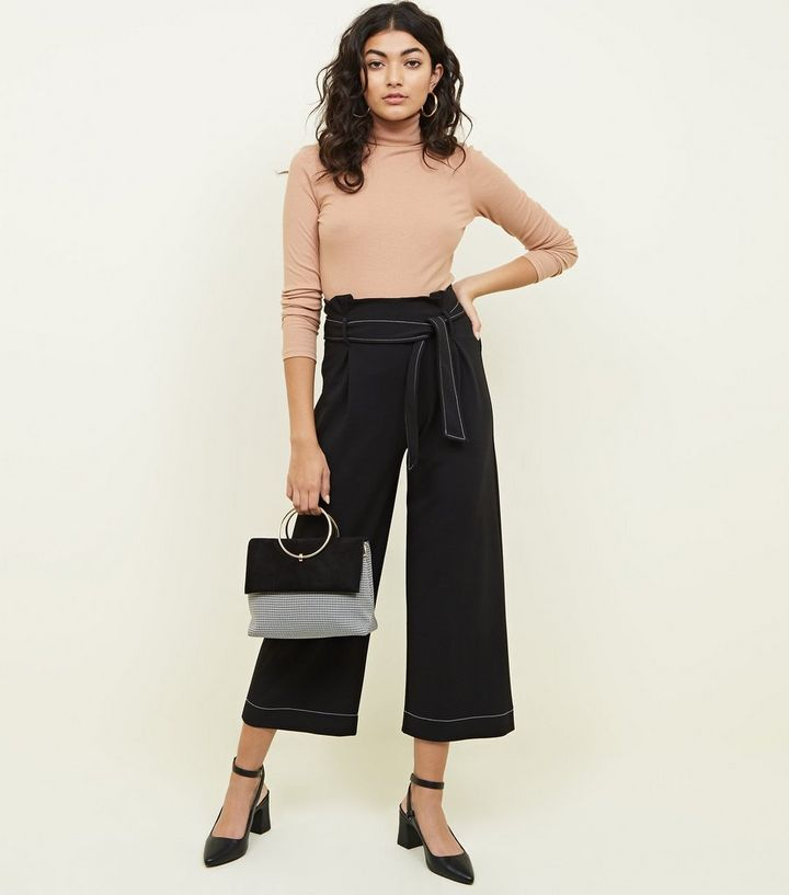 df75c565bcf9a1 Black Contrast Stitch Paperbag Waist Cropped Trousers