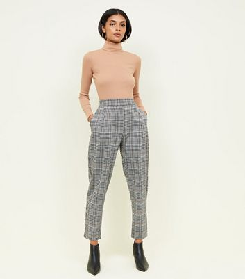Black Check Jersey High Waist Tapered Trousers