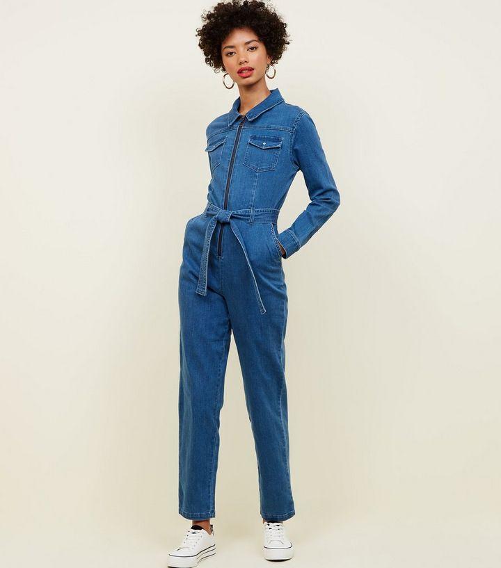 93b073d797 Blue Ring Zip Front Lightweight Denim Jumpsuit