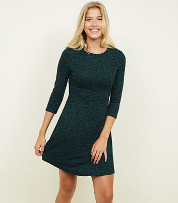 Green Leopard Print 3/4 Sleeve Swing Dress