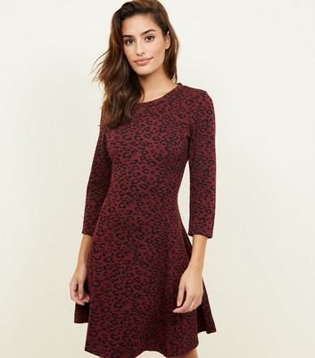Burgundy Leopard Print 3/4 Sleeve Swing Dress