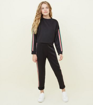 Girls Black Rainbow Side Stripe Joggers