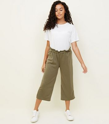 Girls Khaki Button Paperbag Waist Culottes