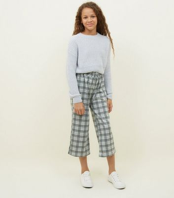 Girls Light Grey Check Button Side Culottes