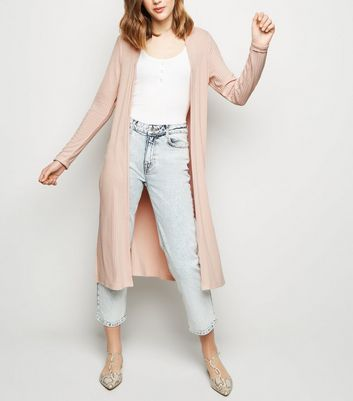 Pink Fine Knit Rib Longline Cardigan by New Look