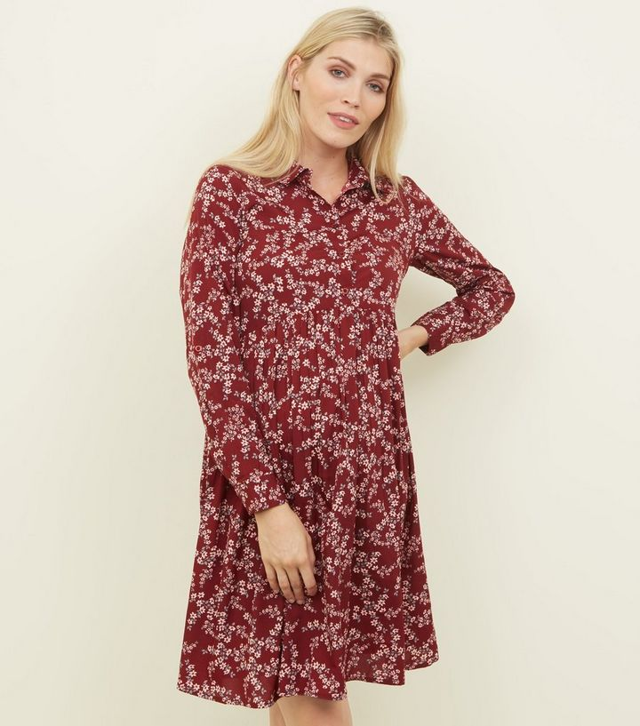 4b0ba238732 Maternity Red Floral Smock Shirt Dress