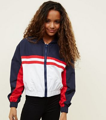 Girls Navy Colour Block Hooded Windbreaker