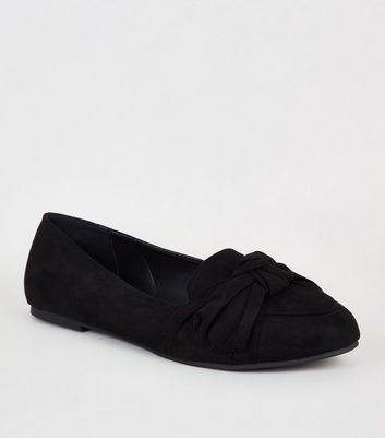 Wide Fit Black Suedette Bow Loafers