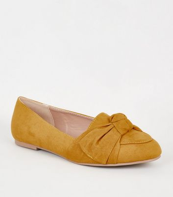 Wide Fit Mustard Suedette Bow Loafers