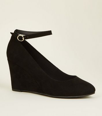 Black Comfort Suedette Ankle Strap Wedges by New Look